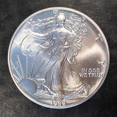 1989 Uncirculated American Silver Eagle US Mint Issue 1oz Pure Silver #G049