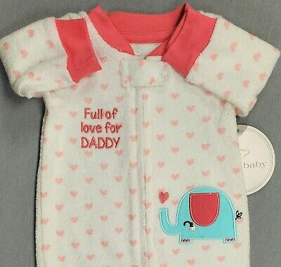 New Koala Baby Newborn Baby Girl Terry Cloth Full Of Love For Daddy Footed