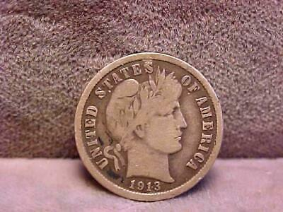 U.S. Barber Dime 10 Cents Silver Coin 1913-S XF