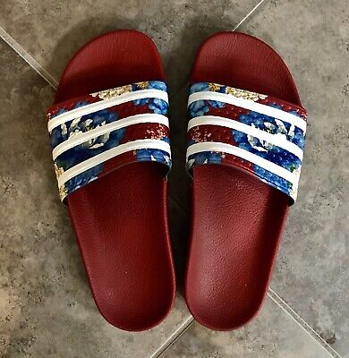 8022b2497252 Womens Adidas x The FARM Adilette Floral Striped Slide Sandal Red SOLD OUT  Sz 9
