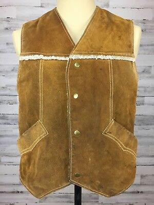Vtg JC Penney sz L Brown Suede Leather Shearling Sherpa Vest Fleece Trim Beat up