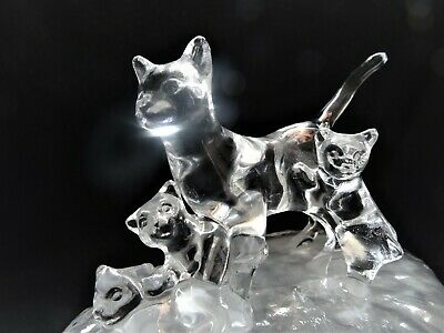 """Crystal Clear Mom Cat with 3 kittens Statue, Art Glass Figurine Frosted Base 4""""H"""