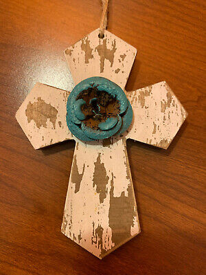 "Metal & Wooden Cross Wall Decor Rustic Look Ornate Small 6"" Tall HL5-1"