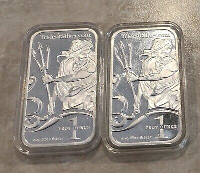 2-1 Troy Oz .999 Trident Silver Bars In Airtight Holders