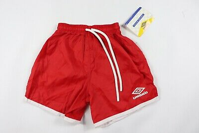 Vintage 90s New Umbro Youth Medium Spell Out Nylon Soccer Shorts Red White