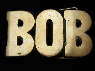 PL09103 VINTAGE 1970s CUT-OUT NAME **BOB** SOLID BRASS BARON BELT BUCKLE