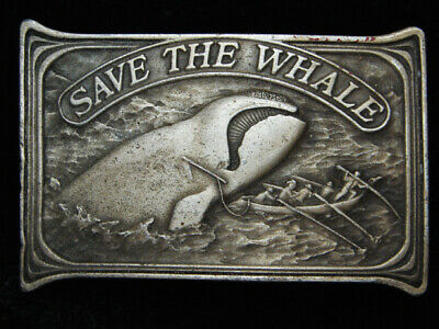 Qg13144 Vintage 1976 **Save The Whale** Right Whale Conservation Belt Buckle