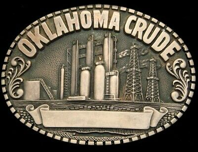 SA26131 VINTAGE 1980s **OKLAHOMA CRUDE** OIL DERRICK SOLID BRASS OILFIELD BUCKLE