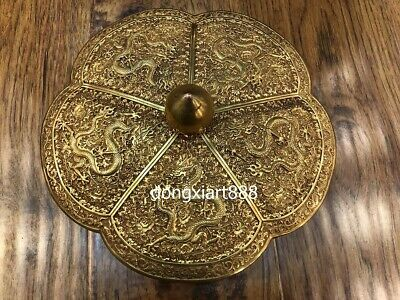 "10"" Tibet Copper 24K Gold Handwork Five Dragon pumpkin treasures Box small case"