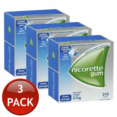 3 x NICORETTE ICY MINT CHEWING FRESHMINT EXTRA STRENGTH NICOTINE 210 GUMS 4mg