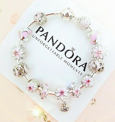 Authentic Pandora Bracelet Silver Bangle with Pink Flower European Charms