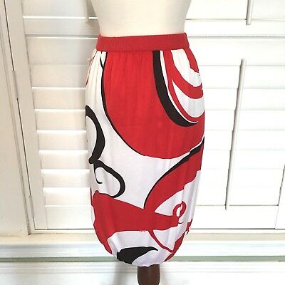 cda62bfb48ea2 Bebe Womens Bubble Skirt Red White Silk Swirl Print Logo Career Work Small  S NWT