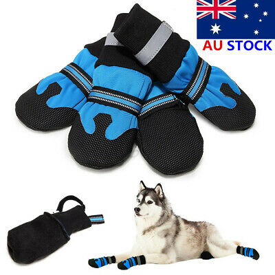 AU Large Dog Shoes Boots Booties For Snow Winter Waterproof Reflective Anti-slip