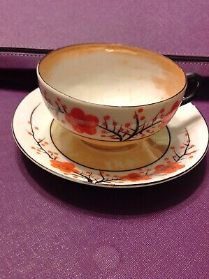 Vintage Lusterware Japan Cup And Saucer Hand-Painted