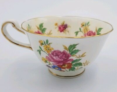 Royal Chelsea White w/ FLORAL FLOWERS TEA CUP ONLY Gold Trim English Bone China