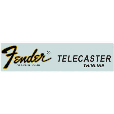 Fender® Telecaster® 1968-1976 Thinline® Waterslide Headstock Decal BLACK w GOLD