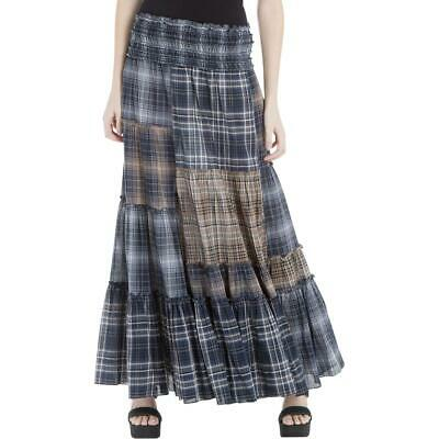 Max Studio London Womens Navy Plaid Patchwork Casual Maxi Skirt S BHFO 0870