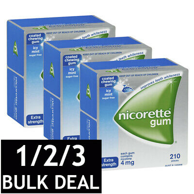 NICORETTE ICY MINT CHEWING GUM FRESHMINT EXTRA STRENGTH NICOTINE 210 GUMS 4mg