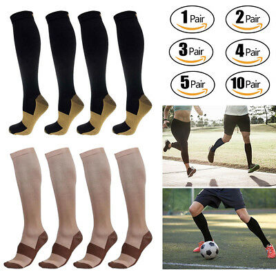 10 Pairs Copper Compression Socks 20-30mmHg Graduated Support Mens Womens Lot US