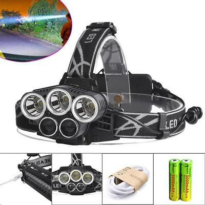 80000LM 5X XM-L T6 LED Rechargeable USB Headlamp 18650 Battery Cycling Torch BE