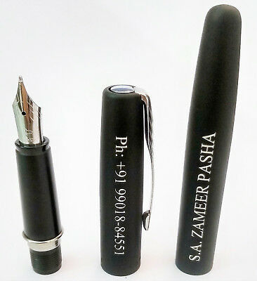 Personalised Engraved Parker Frontier Matte Black CT Ink Fountain Pen Gift New