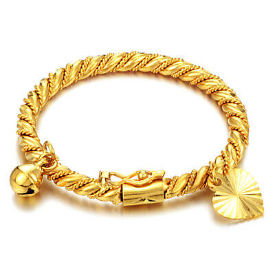 Fashion Jewelry Gold P Bracelet Bangle for Infants Newborn Baby with Bell Gift