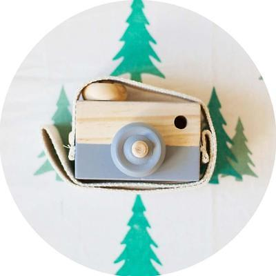 Kids Cute Wood Camera Toy Children Room Decor Natural Safe Wooden Camera Gray BE