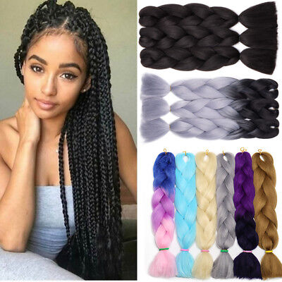"Real Long 24"" Ombre Xpression Jumbo Braiding Afro Hair Extensions as human Black"
