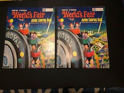 1964-1965 New York Worlds Fair  2-Jumbo Coloring Book ! New Condition,Collector