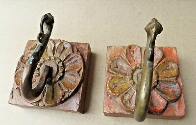 Antique Wall Coat hanger hook Brass Peacock redefined Carved wood back Q-2 pcs