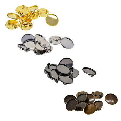40Pc 25mm Brooch Making Blank Cabochon Bezel Setting Trays for Badge Jewelry