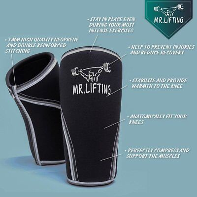 adf2dc031c Knee Sleeve Support & Compression 7mm Neoprene For Squats Crossfit  Powerlifting