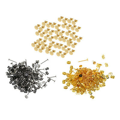 500 Pack 4mm Blank Flat Pad Base Earring Posts with Back DIY Making Findings