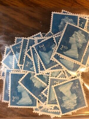 100 2nd Class Blue Royal Mail Stamps, Used, Unfranked, Off Paper, No Gum