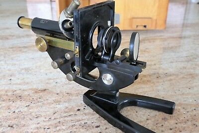 Antique Carl Zeiss Jena  Brass Microscope. With Case, 3 Lenses, 1 Eyepiece.