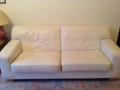 Off White Leather Sofa And Chair