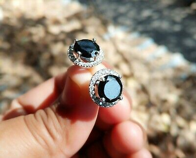 2Ct Round Brilliant Cut Black Diamond Halo Stud Earrings In 14k White Gold Over