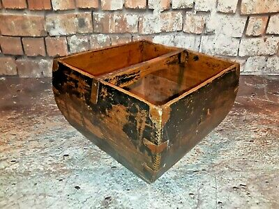 Antique Oriental Chinese Old Rustic Wooden Trug Flower Log Rice Grain Basket Box