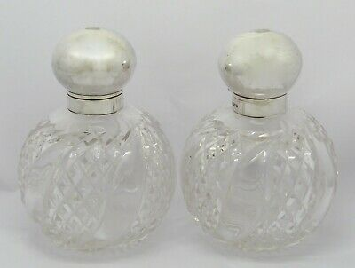2 Beautiful Large Edwardian Solid Silver Top Perfume Bottles Hm1906 Crown To Lid