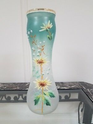 Antique Nouveau Glass Turquoise Vase Antique French Enameled Mont Joye Legras