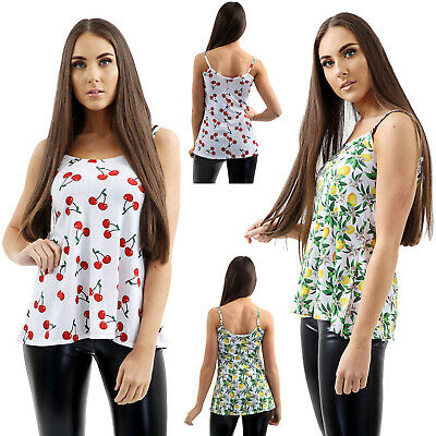 New Womens Swing Vest Sleeveless Top Strappy Cami Ladies Plus Size Flared