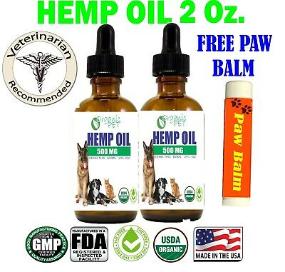 Hemp Oil W/FREE CBD BALM for Dogs Cats Pets Stress Anxiety Pain Relief 500mg 2oz