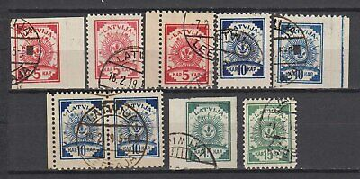 """Latvia - 1919 """"Arms"""" Stamps on Paper w/ Ruled Lines (Used)"""
