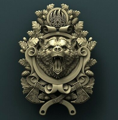 3d STL Model Relief for CNC Router Aspire _ (0067) Bear