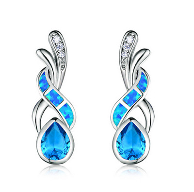 1 Pair Woman Fashion 925 Silver Jewelry Blue Fire Opal Charm Earring Pendant !!