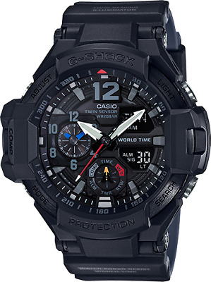 Casio Men's G Shock Quartz World Time Black Resin Band 51mm Watch GA1100-1A1