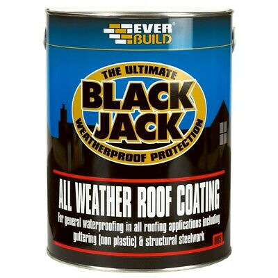 All Weather Roof Paint Coating Compound Finish Everbuild 905 Seal Black 5 Litre