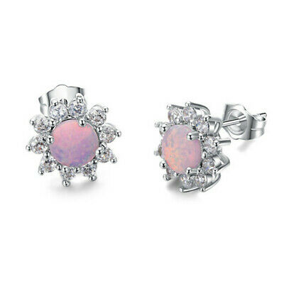 1 Pair Woman Fashion 925 Silver Jewelry Pink Fire Opal Charm Stud Earring NEW !!