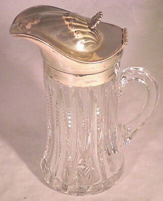 Antique G.M. Co. Silver Crystal Syrup Pitcher c.1865-1961 (Gorham Manufacturing)