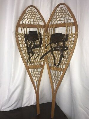 Vtg Antique Wood Snowshoes Rustic Decor Lodge Cabin Wall Hanging Rawhide LARGE